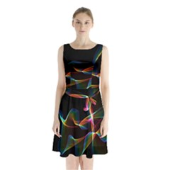 Fluted Cosmic Rafluted Cosmic Rainbow, Abstract Winds Sleeveless Chiffon Waist Tie Dress