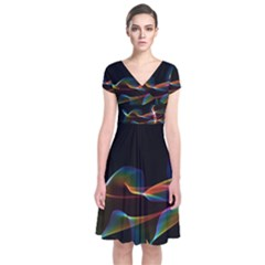 Fluted Cosmic Rafluted Cosmic Rainbow, Abstract Winds Short Sleeve Front Wrap Dress