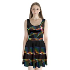 Fluted Cosmic Rafluted Cosmic Rainbow, Abstract Winds Split Back Mini Dress