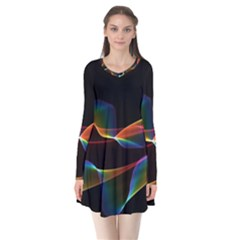 Fluted Cosmic Rafluted Cosmic Rainbow, Abstract Winds Flare Dress