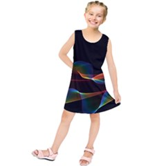 Fluted Cosmic Rafluted Cosmic Rainbow, Abstract Winds Kids  Tunic Dress