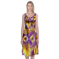 Golden Violet Crystal Palace, Abstract Cosmic Explosion Midi Sleeveless Dress