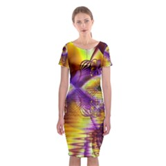 Golden Violet Crystal Palace, Abstract Cosmic Explosion Classic Short Sleeve Midi Dress