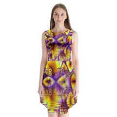 Golden Violet Crystal Palace, Abstract Cosmic Explosion Sleeveless Chiffon Dress