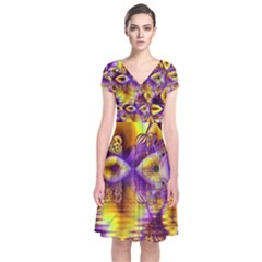 Golden Violet Crystal Palace, Abstract Cosmic Explosion Short Sleeve Front Wrap Dress