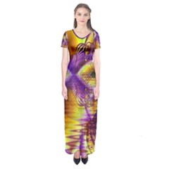 Golden Violet Crystal Palace, Abstract Cosmic Explosion Short Sleeve Maxi Dress