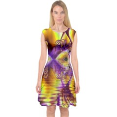 Golden Violet Crystal Palace, Abstract Cosmic Explosion Capsleeve Midi Dress