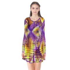 Golden Violet Crystal Palace, Abstract Cosmic Explosion Flare Dress