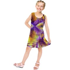 Golden Violet Crystal Palace, Abstract Cosmic Explosion Kids  Tunic Dress