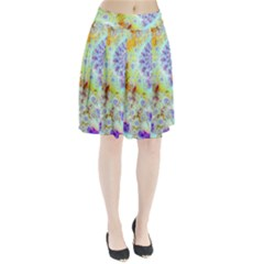 Golden Violet Sea Shells, Abstract Ocean Pleated Skirt
