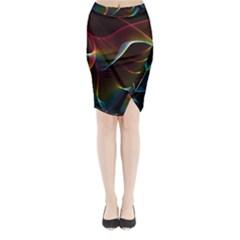 Imagine, Through The Abstract Rainbow Veil Midi Wrap Pencil Skirt