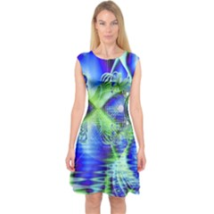 Irish Dream Under Abstract Cobalt Blue Skies Capsleeve Midi Dress
