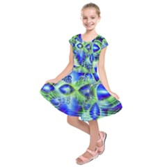 Irish Dream Under Abstract Cobalt Blue Skies Kids  Short Sleeve Dress