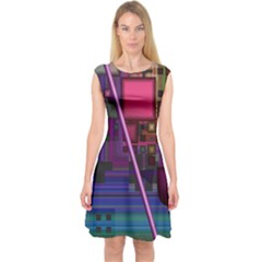 Jewel City, Radiant Rainbow Abstract Urban Capsleeve Midi Dress