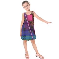 Jewel City, Radiant Rainbow Abstract Urban Kids  Sleeveless Dress