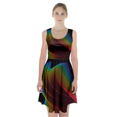 Liquid Rainbow, Abstract Wave Of Cosmic Energy  Racerback Midi Dress