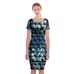 Looking Out At Night, Abstract Venture Adventure (venture Night Ii) Classic Short Sleeve Midi Dress