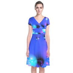Love In Action, Pink, Purple, Blue Heartbeat 10000x7500 Short Sleeve Front Wrap Dress