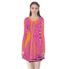 Magenta Boardwalk Carnival, Abstract Ocean Shimmer Flare Dress