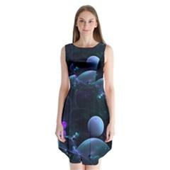 The Music Of My Goddess, Abstract Cyan Mystery Planet Sleeveless Chiffon Dress