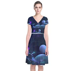 The Music Of My Goddess, Abstract Cyan Mystery Planet Short Sleeve Front Wrap Dress