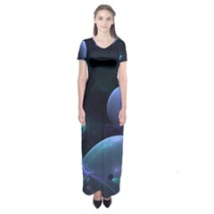 The Music Of My Goddess, Abstract Cyan Mystery Planet Short Sleeve Maxi Dress