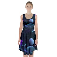 The Music Of My Goddess, Abstract Cyan Mystery Planet Racerback Midi Dress