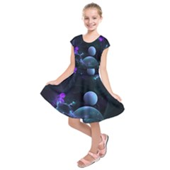 The Music Of My Goddess, Abstract Cyan Mystery Planet Kids  Short Sleeve Dress