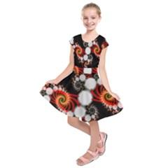 Mysterious Dance In Orange, Gold, White In Joy Kids  Short Sleeve Dress