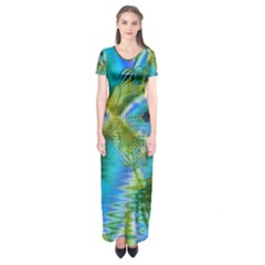 Mystical Spring, Abstract Crystal Renewal Short Sleeve Maxi Dress