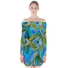 Mystical Spring, Abstract Crystal Renewal Long Sleeve Off Shoulder Dress