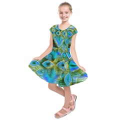 Mystical Spring, Abstract Crystal Renewal Kids  Short Sleeve Dress