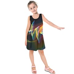 Northern Lights, Abstract Rainbow Aurora Kids  Sleeveless Dress