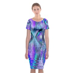 Peacock Crystal Palace Of Dreams, Abstract Classic Short Sleeve Midi Dress
