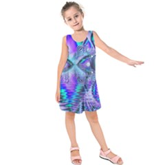 Peacock Crystal Palace Of Dreams, Abstract Kids  Sleeveless Dress