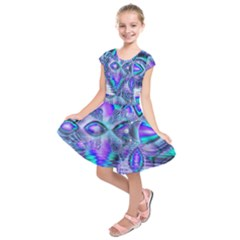 Peacock Crystal Palace Of Dreams, Abstract Kids  Short Sleeve Dress