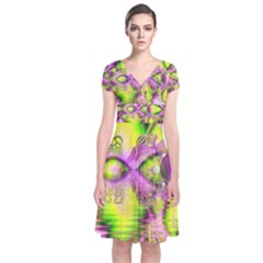 Raspberry Lime Mystical Magical Lake, Abstract  Short Sleeve Front Wrap Dress