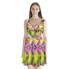 Raspberry Lime Mystical Magical Lake, Abstract  Split Back Mini Dress