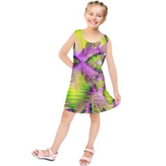 Raspberry Lime Mystical Magical Lake, Abstract  Kids  Tunic Dress