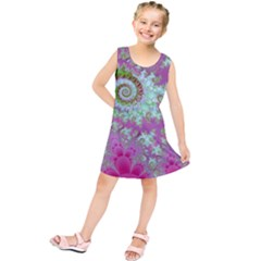 Raspberry Lime Surprise, Abstract Sea Garden  Kids  Tunic Dress