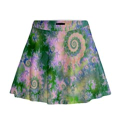 Rose Apple Green Dreams, Abstract Water Garden Mini Flare Skirt
