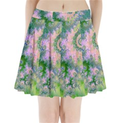 Rose Apple Green Dreams, Abstract Water Garden Pleated Mini Skirt