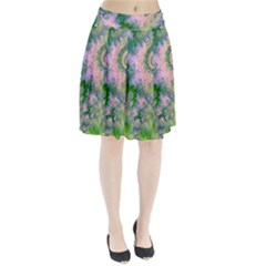 Rose Apple Green Dreams, Abstract Water Garden Pleated Skirt