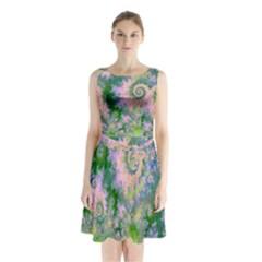 Rose Apple Green Dreams, Abstract Water Garden Sleeveless Chiffon Waist Tie Dress