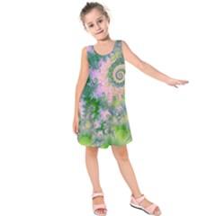 Rose Apple Green Dreams, Abstract Water Garden Kids  Sleeveless Dress