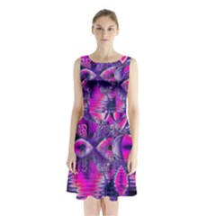 Rose Crystal Palace, Abstract Love Dream  Sleeveless Chiffon Waist Tie Dress