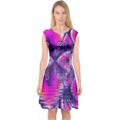 Rose Crystal Palace, Abstract Love Dream  Capsleeve Midi Dress