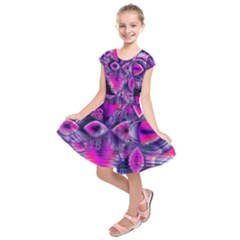 Rose Crystal Palace, Abstract Love Dream  Kids  Short Sleeve Dress
