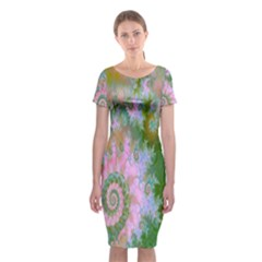 Rose Forest Green, Abstract Swirl Dance Classic Short Sleeve Midi Dress