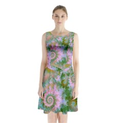 Rose Forest Green, Abstract Swirl Dance Sleeveless Chiffon Waist Tie Dress